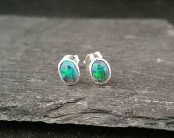 Genuine 925 Sterling Silver Blue Green Opal Oval Stud Butterfly Back Earrings Gift Boxed