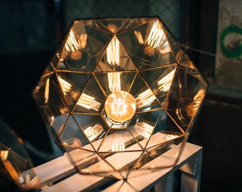 Hanging geometric lamp - Glass pendant lamp - Handmade Geometric Lamp  - Home decor - Wedding table decor - Loft Light - Industrial Lamp