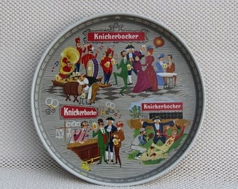 Beer Tray - Vintage Knickerbocker Metal Round Beer Tray - Man Cave Decor - Retro Advertising