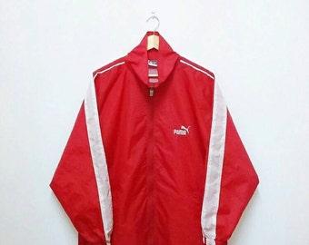 Hot Sale!!! Rare Vintage 90s PUMA DISC SYSTEM Multicolour Embroidery Logo Windbreaker Jacket Hip Hop Swag Large Size