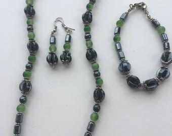 Gunmetal jewellery set - Gray and Green