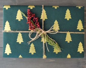 Emerald & Gold Trees - Treeless Gift Wrap