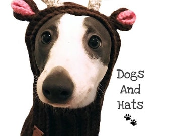 The deer dog, reindeer hat. Christmas hat, snood for your doggie. Greyhound, whippet