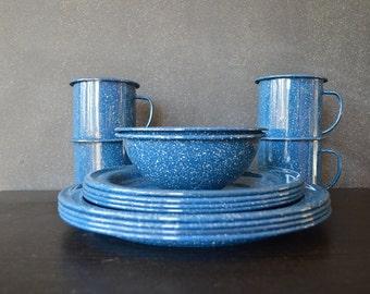 Vintage Blue Enamelware - Set of 14 - Camping - Dining - Mugs - Plates - Bowls