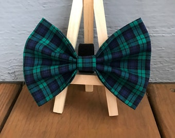 Blue and Green plaid dog bow tie