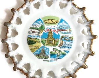 Idaho collectible hanging plate with gold edge