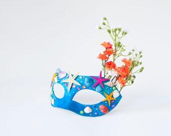 "Seashell Women's Masquerade Mask!  Mermaid Mask, Starfish, Under the Sea, Women's Mascarade, Women Mardi Gras - The ""Alana"""