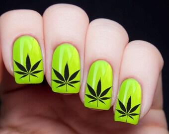 Pot leaf nail art etsy nail decals x 20 nail art set waterslide nail decals black pot leaf prinsesfo Gallery