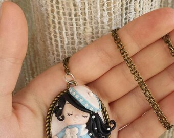 Winter girl cameo necklace/necklace doll winter polymer clay