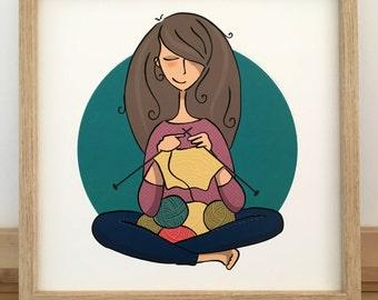 Woman illustration. I love knitting. I'm knitting. framed art.