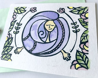 Greeting card, birthday, girl gift for friends or co-worker, original women's day, linocut card