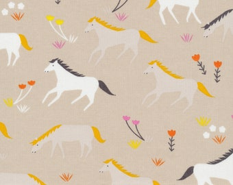 Ponies in Mist - Stay Gold by Aneela Hoey - Cloud 9 Organic cotton fabric