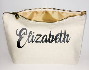 Bridesmaid Gifts  - bridesmaid favors  -  cosmetic bag- zipper pouches - Birthday gift- makeup bag - Canvas bags
