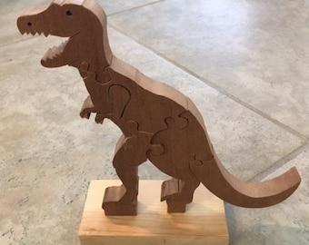 Handmade Wooden Tyrannosaurus Rex Puzzle