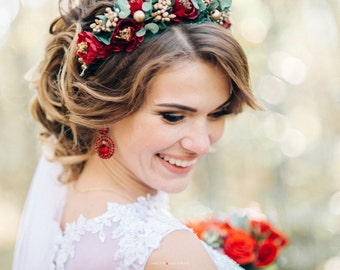 Gold and Red Rose Crown, Boho Hairwreath, Deep Red Woodland Wedding Headband, Forest Wedding Wreath, Winter Bride Headpiece