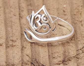 Adjustable Sterling Silver Openwork Lotus and Ohm Ring Yoga Meditation