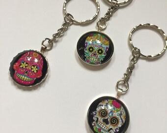 Day of the dead keyring, Sugar Skull keyring, Sugar skull keychain, Mexican holiday keyring item 369 by CraftyLittleMonkeyGB