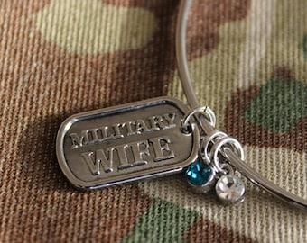"Mini Dog Tag Bangle Bracelet Jewelry ""Military Wife"" Personalized Birthstone Dangle Charms Patriot Veteran United States Military Baggage"