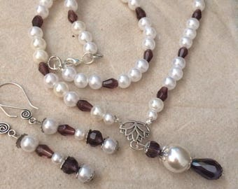 Pearl and Amethyst Necklace and Earring Set