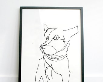 BUSTER - hand drawn continuous line print