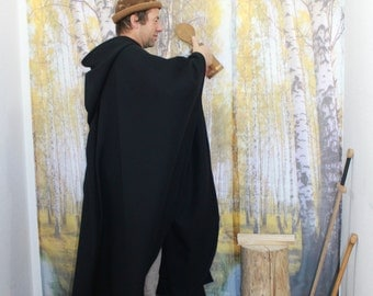 Cape black for men and women with long hood, middle ages, poncho, Cape, medieval cloak, wool, fantasy, LARP