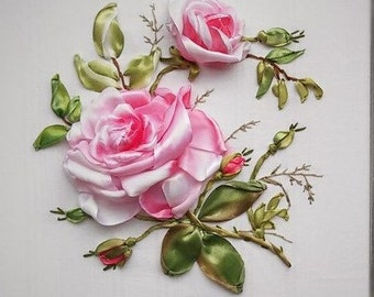 Roses picture. Hand-embroidered ribbons.
