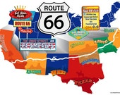 Route 66 Wall Mural on Wall Graphic.  Die-Cut, Peel & Stick, Easy Application.  Route 66 through the States in a Colorful Mural.