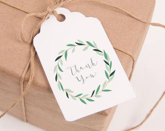 Printable Thank You Tags, Modern, Green, Wreath, Botanical, Thank You Tags Printable, Digital Download, Hang, Tags, Favor, US Letter, A4