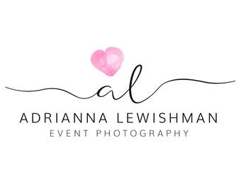 Watercolour Logo | Logo Design | Premade Logo Design | Pink Logo Design | Heart Logo Design | Heart Logo | Calligraphy Logo