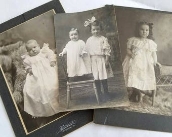 Children's Photos - Set of Three - Circa 1910