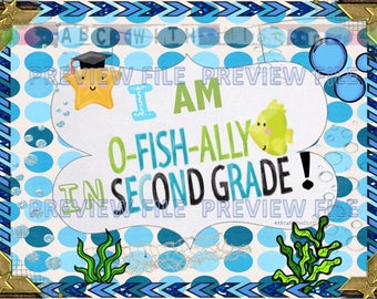 Ofishally in Second Grade Sign-End of School Year-Printable Photo Prop- Graduation Gift-Last Day of First Grade Announcement-Scrapbook Idea