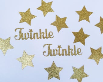 "Twinkle Twinkle Little Star Large Confetti - 4"" Twinkle Word 2"" Stars (70 pieces) Gold Glitter - First Birthday, Baby Shower, Gender Reveal"