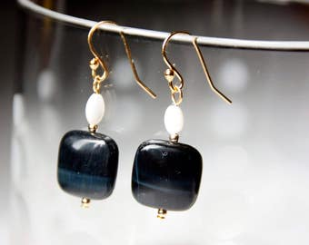 Blue Tiger Eye and Mother of Pearl Drop Earrings with 14 Karat Gold Plated Finishings