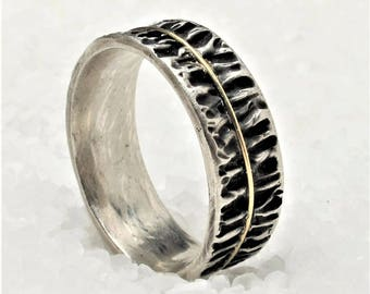 Man band ring, wedding ring made of oxidized silver and gold, rustic ring