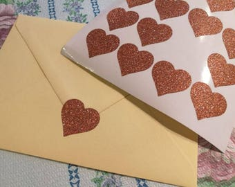 20 rose gold heart stickers, glitter envelope seals, glitter heart sticker, glitter wall decals, paper label, letter seal, adhesive seal
