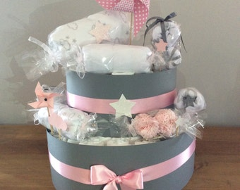 Diaper cake gently: grey and pink