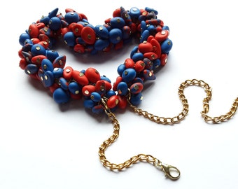 Red and blue polymer pearls necklace, Necklace for women, Gift for women, colorful necklace, charming necklace, Polymer stones necklace