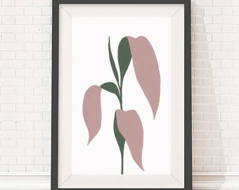 A4 Giclee print of palm leaves plant painting, minimal style botanical