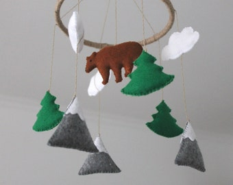 Felt Mountains Pine Trees Scandinavian Clouds Bear Baby Mobile, Baby Crib Mobile, Felt Mountains and Tree,  Cloud Cot Mobile, woodland