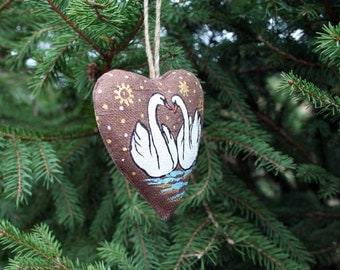 Christmas tree decoration, Swans ornament, Valentine's day gift, for Her, for Him, Hanging decor, Heart, Birds ornament