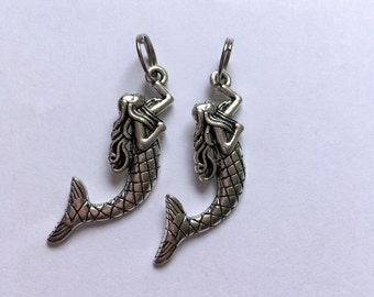 Mermaid Zipper Charms - 4cm Silver