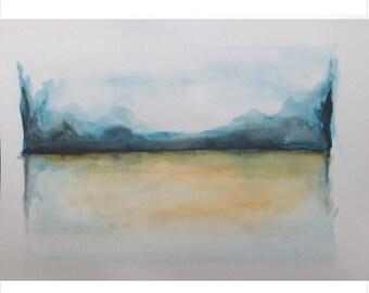 "Original abstract landscape, watercolor painting, (11""x15"") - Sale 30% off (Reg 49.99)"