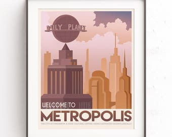 Metropolis city. Superman art. Retro travel poster. Superhero decor. DC comics geek. Justice league. Clark kent. Man of steel. Daily planet