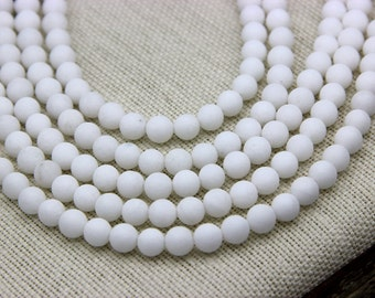 Matte White Jade Beads 6mm 8mm 10mm Natural White Gemstone Beads White Mala Beads White Mountain Jade Frosted White Gemstone Beads