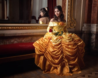 Belle luxury custom cosplay, Adult Belle cosplay costume, gold dress, The Beauty and the Beast, Disney princesses