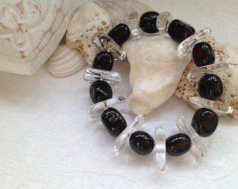 Black Agate and Rock Crystal Bracelet