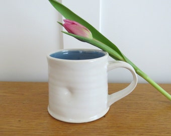White Porcelain Mug with Blue Interior