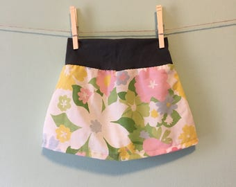 Vintage flower and charcoal grey skirt