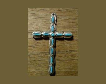 Cross Pendant Faux Turquoise Stones/Silver Tone Metal Setting