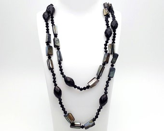 Extra Long Black Plastic Beaded Gypsy Necklace Primitive Various Sized Beads Vintage 90s Costume Jewelry
